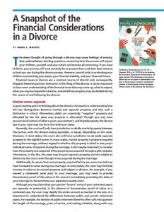 A Snapshot of the Financial Considerations in a Divorce